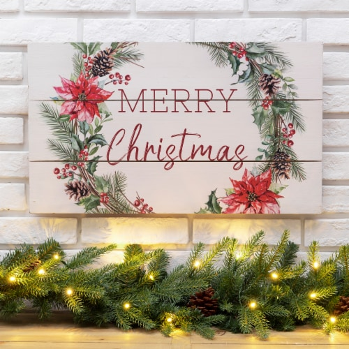 Glitzhome Wooden Merry Christmas Wall Decoration - White/Red Perspective: left