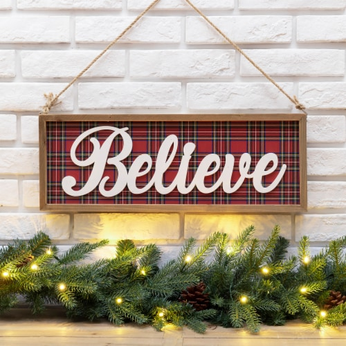 Glitzhome Wooden Double Sided Peace & Believe Wall Decoration Perspective: left