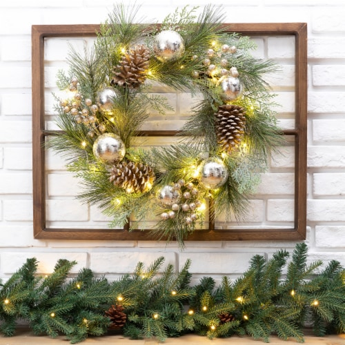 Glitzhome LED Pre-Lit Pinecone & Ornament Wreath Wooden Window Frame Perspective: left