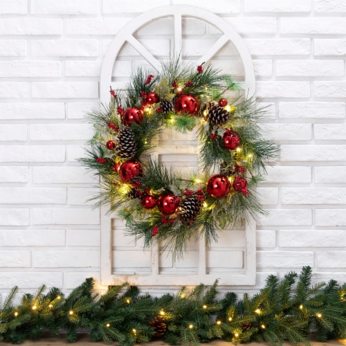 Glitzhome Wooden Window Frame & Pre-Lit LED Prinecone & Ornament Wreath Perspective: left