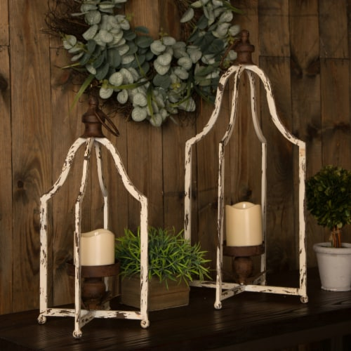 Glitzhome Farmhouse White Metal Lanterns Perspective: left