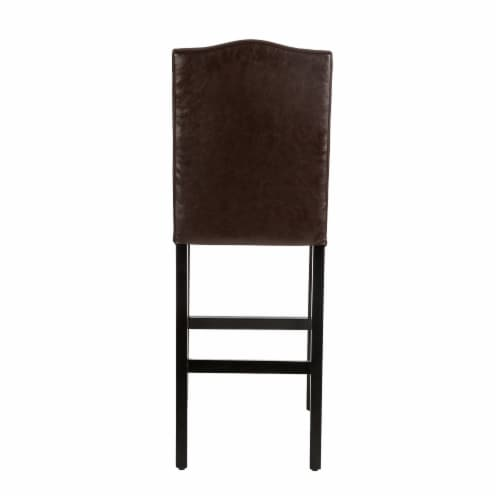 Glitzhome Bonded Leather High Back Studded Bar Chairs - Coffee Perspective: left