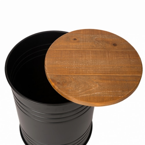 Glitzhome Meta Storage Accent Stools with Wood Lids - Black Perspective: left