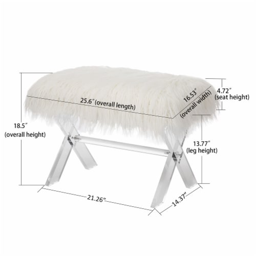 Glitzhome Faux Fur Upholstered Bench with Acrylic X-Leg - White / Clear Perspective: left