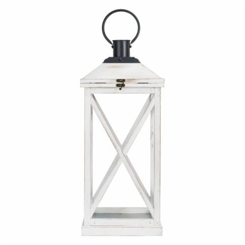 Glitzhome Farmhouse Whitewash Modern Wodden/Metal Lanterns Perspective: left