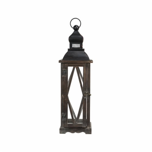 Glitzhome Farmhouse Wooden Lanterns with Diamond Window Frames - Black Perspective: left