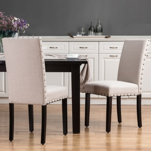 Glitzhome Cushioned Dining Chairs Pair - Cream Perspective: left
