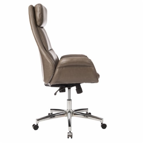 Glitzhome Mid-Century Modern Leatherette Adjustable Swivel High Back Office Chair - Brownish Gray Perspective: left