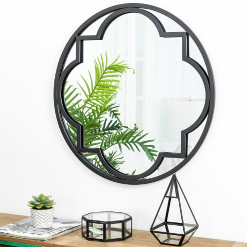 Glitzhome Medium Metal/Glass Round Classic Wall Mirror - Black Perspective: left