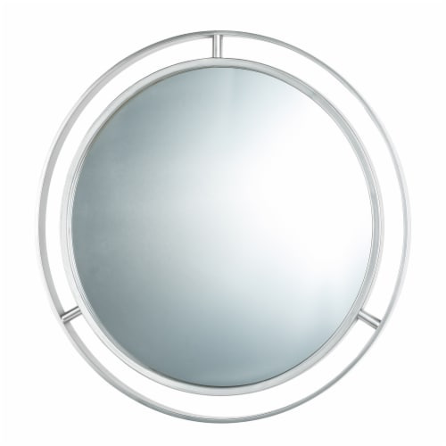 Glitzhome Modern Deluxe Round Metal Classic Wall Mirror - Silver Perspective: left