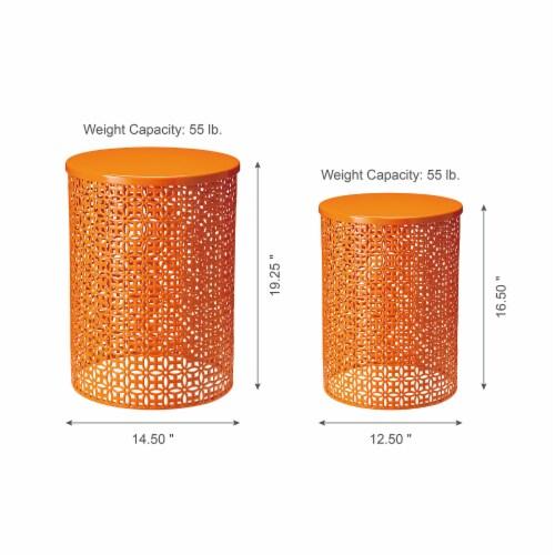 Glitzhome Metal Multi-Functional Garden Stool Plant Stands - Orange Perspective: left