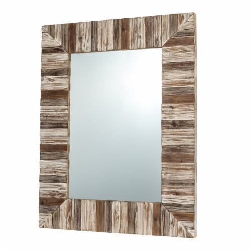 Glitzhome Farmhouse Rectangle Wooden Frame Wall Mirror Perspective: left