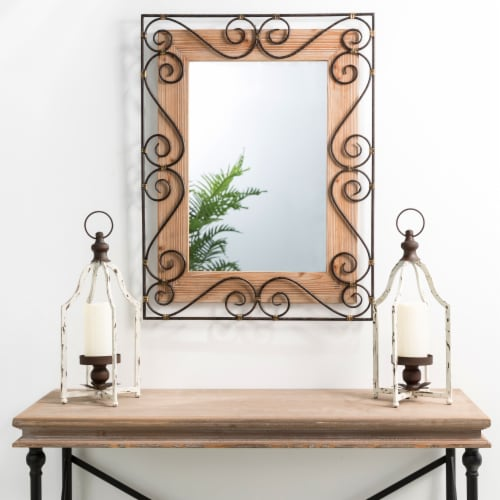 Glitzhome Traditional Rectangle Wooden and Metal Scroll Wall Mirror Perspective: left