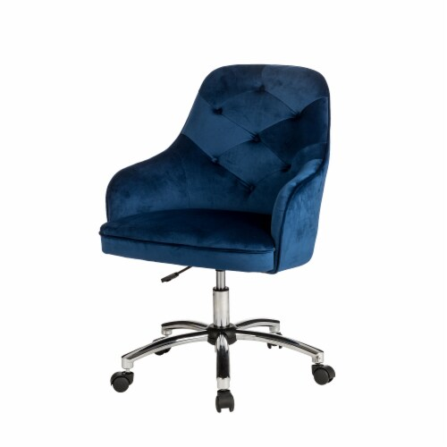 Glitzhome Velvet Gaslift Adjustable Swivel Office Chair - Navy Blue Perspective: left