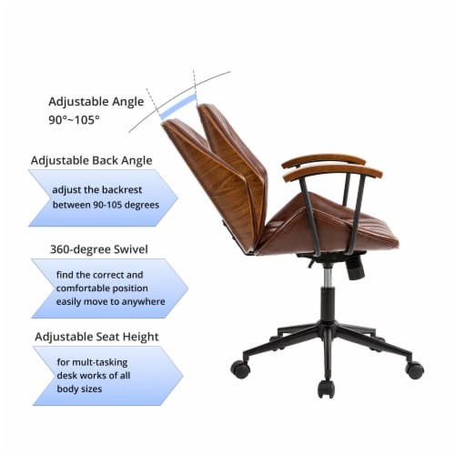 Glitzhome Russet Leatherette Adjustable Swivel Desk Chair - Coffee Perspective: left