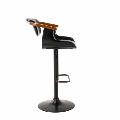 Glitzhome Leatherette Adjustable Swivel Bar Stool Perspective: left