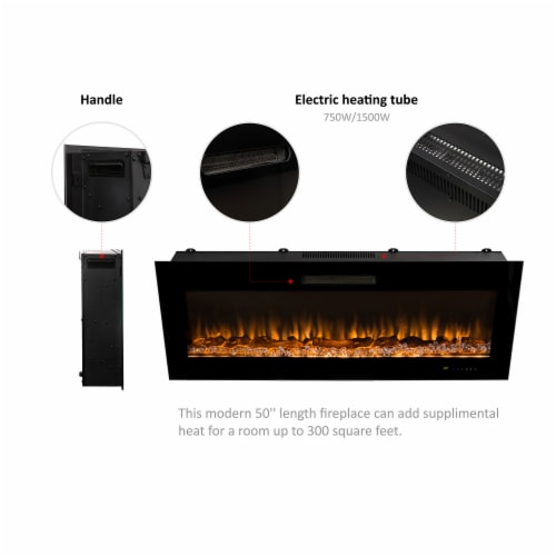 """50""""L Recessed Wall Mounted Electric Fireplace, With 9 Color Flames Perspective: left"""