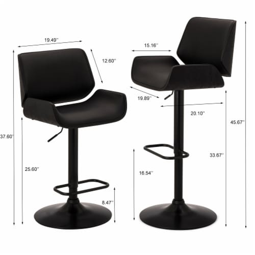 Glitzhome Mid-Century Modern Adjustable Height Swivel Bar Stool - Black Perspective: left
