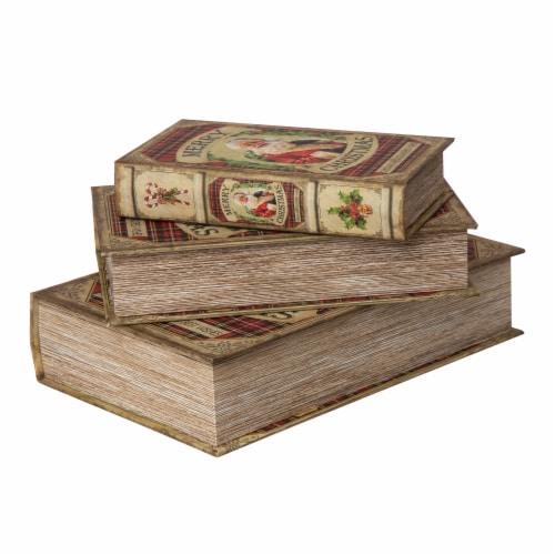 Glitzhome Decorative Wooden Christmas Santa's Book Box Storage Box Perspective: left
