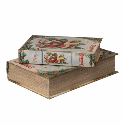 Glitzhome Decorative Wooden Santa's Book Christmas Boxes Perspective: left