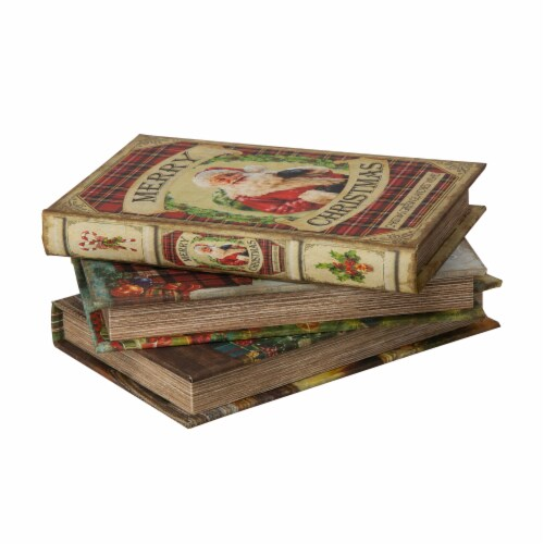 Glitzhome Decorative Wooden Christmas Book Boxes Perspective: left