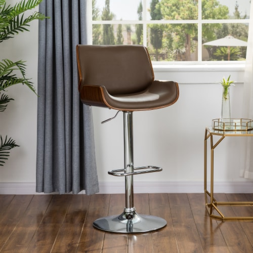 Glitzhome Adjustable Height Swivel Bar Stool - Brown Perspective: left