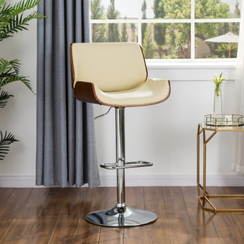 Glitzhome Adjustable Height Swivel Bar Stool - Cream Perspective: left