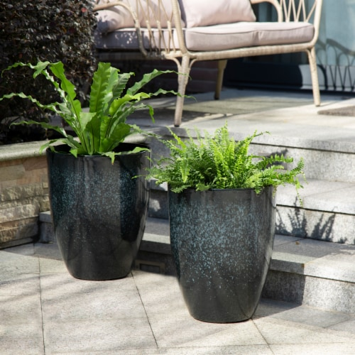 Glitzhome Oversized Faux Ceramic Tall Bowl Plastic Pot Planter - Black Perspective: left