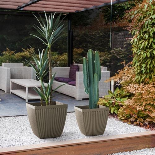 Glitzhome Faux Concrete Square Plastic Fluted Pot Planter Perspective: left