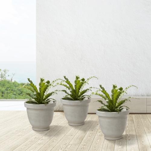 Glitzhome Oversized Faux Ceramic Pot Planter Perspective: left