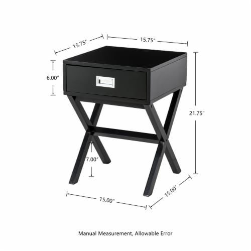 Glitzhome Modern Wooden X-Leg End Table - Black Perspective: left
