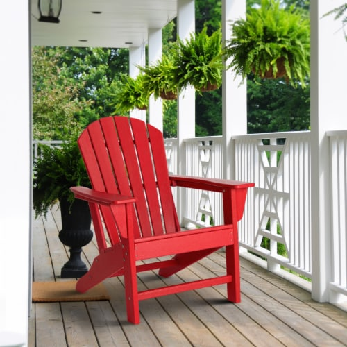 Glitzhome All-Weather Adirondack Chair -  Red Perspective: left