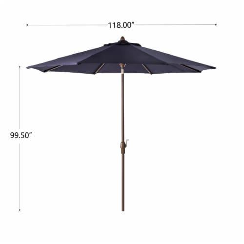 Glitzhome Aluminium Self Tilt Market Patio Umbrella - Navy Blue Perspective: left