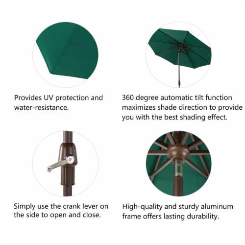 Glitzhome Aluminium Self Tilt Market Patio Umbrella - Dark Green Perspective: left