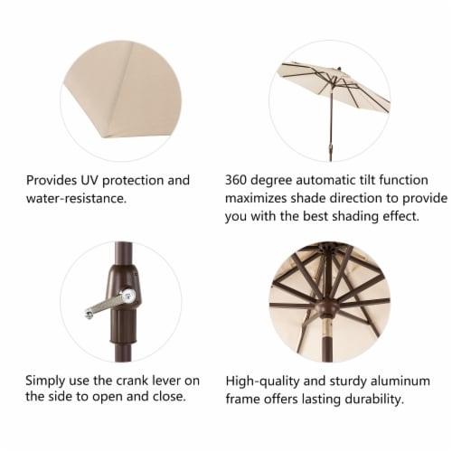Glitzhome Aluminium Self Tilt Market Patio Umbrella - Beige Perspective: left