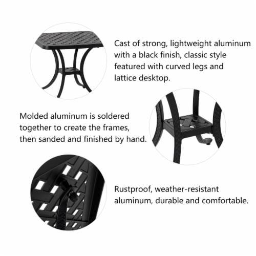 Glitzhome Cast Aluminium Patio Garden Square Side Table - Black Perspective: left