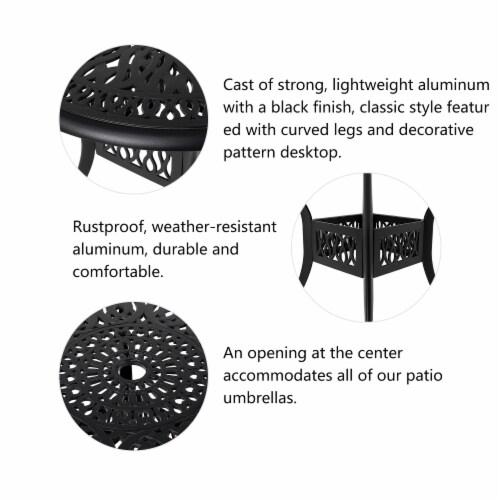 Glitzhome Cast Aluminium Patio Garden Round Dining Table- Black Perspective: left