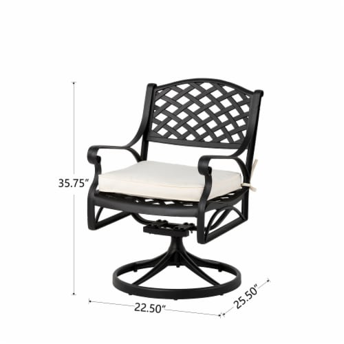 Glitzhome Cast Aluminum Patio Dining Swivel Chair - Beige Perspective: left