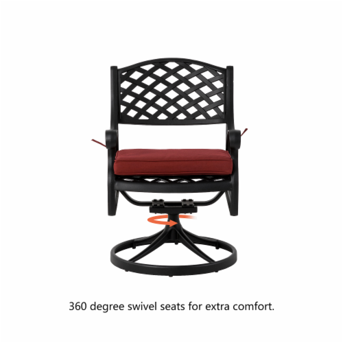 Glitzhome Cast Aluminium Patio Garden Dining Swivel Chair with Wine Red Cushion Perspective: left