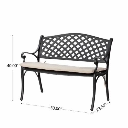 Glitzhome Aluminium Patio Garden Bench with Beige Cushion Perspective: left