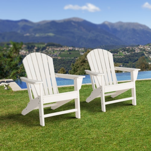Glitzhome All-Weather Adirondack Chair - White Perspective: left