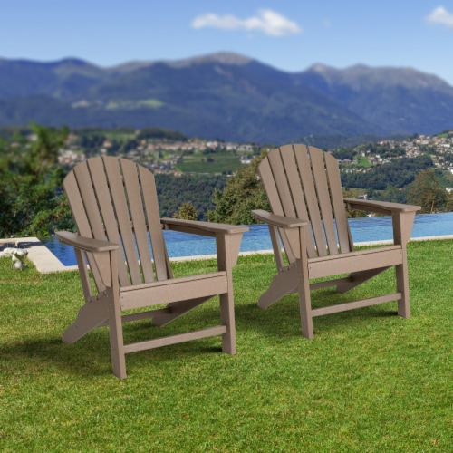 Glitzhome All-Weather Adirondack Chair - Tan Perspective: left