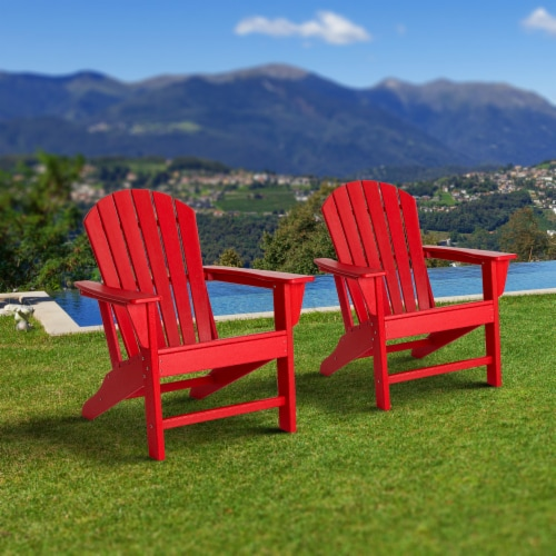 Glitzhome Adirondack Chair - Red Perspective: left