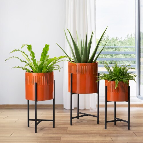 Glitzhome Modern Metal Plant Stands - Black/Orange Perspective: left