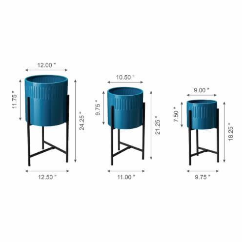 Glitzhome Modern Glossy Metal Plant Stands - Blue Perspective: left