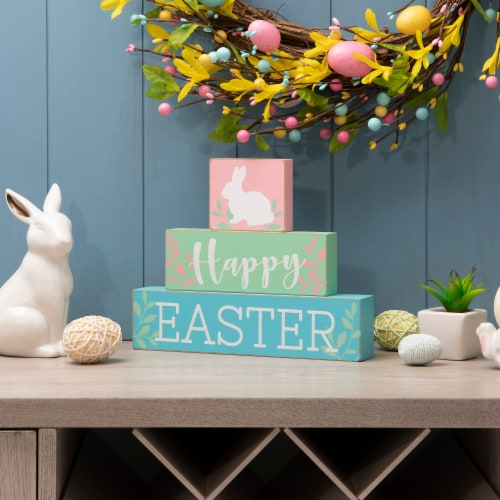 Glitzhome Happy Easter Wooden Block Table Decor Perspective: left