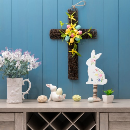 Glitzhome Floral Easter Cross with Easter Eggs Wall Decoration Perspective: left