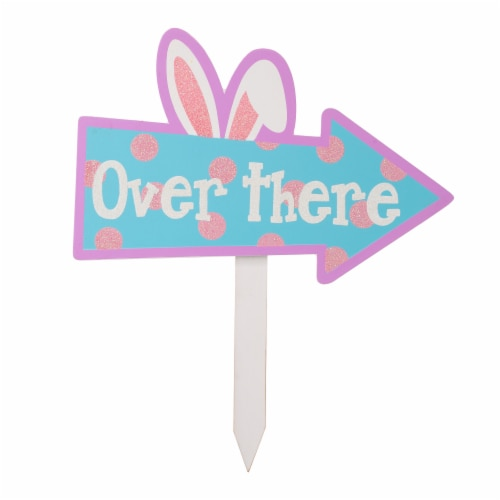 Glitzhome Easter Wooden Path Sign Yard Stake Perspective: left