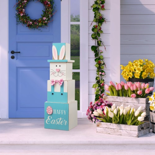 Glitzhome Doubled Sided Easter and July Fourth Wooden Porch Box Decor Perspective: left