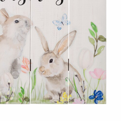 Glitzhome Wooden Easter Bunny Wall Sign Perspective: left